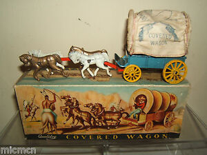 Vintage Qualitoy's / Benbros Modèle N ° Xxx Wagon Couvert & Chevaux Vn Mib