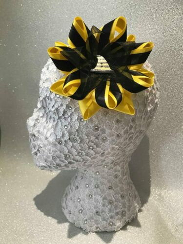 Single Handmade Halloween Witch Hat yellow//black satin Harajuku romany hair bow