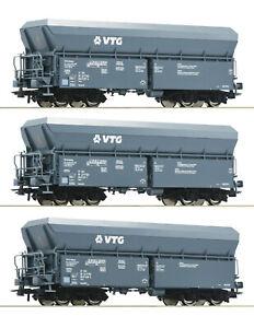 Roco-H0-76092-Selbstentladewagen-Set-034-Bauart-Falns-034-der-VTG-NEU-OVP