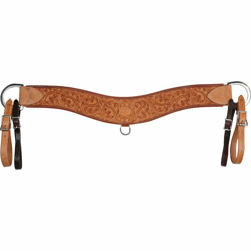 Western Natural Leather Hand Carved Steering Breast Collar with Two Tone Tugs