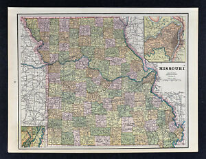 Details About C 1895 George Cram Map Missouri Jefferson City St Louis Springfield Columbia Mo
