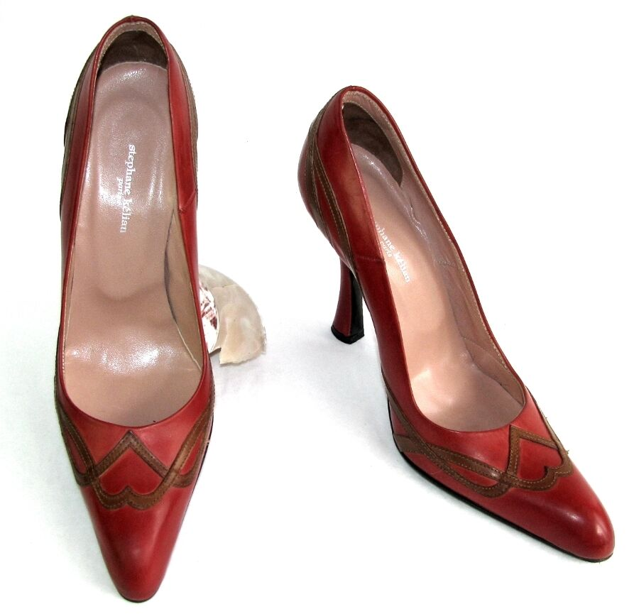 Stephane kelian escaprins heels 10 cm brown & red leather 5 38 excellent condition