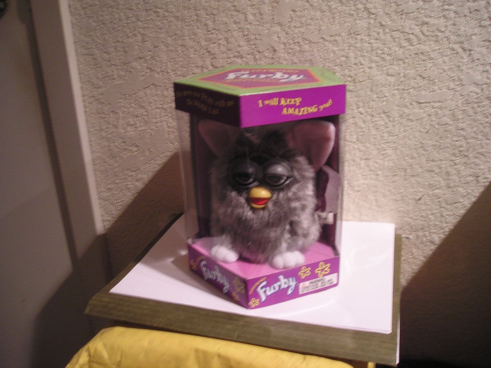 ORIGINAL FURBY 1998 MODEL 70-800, WOLF,  GREY WITH STRIPES