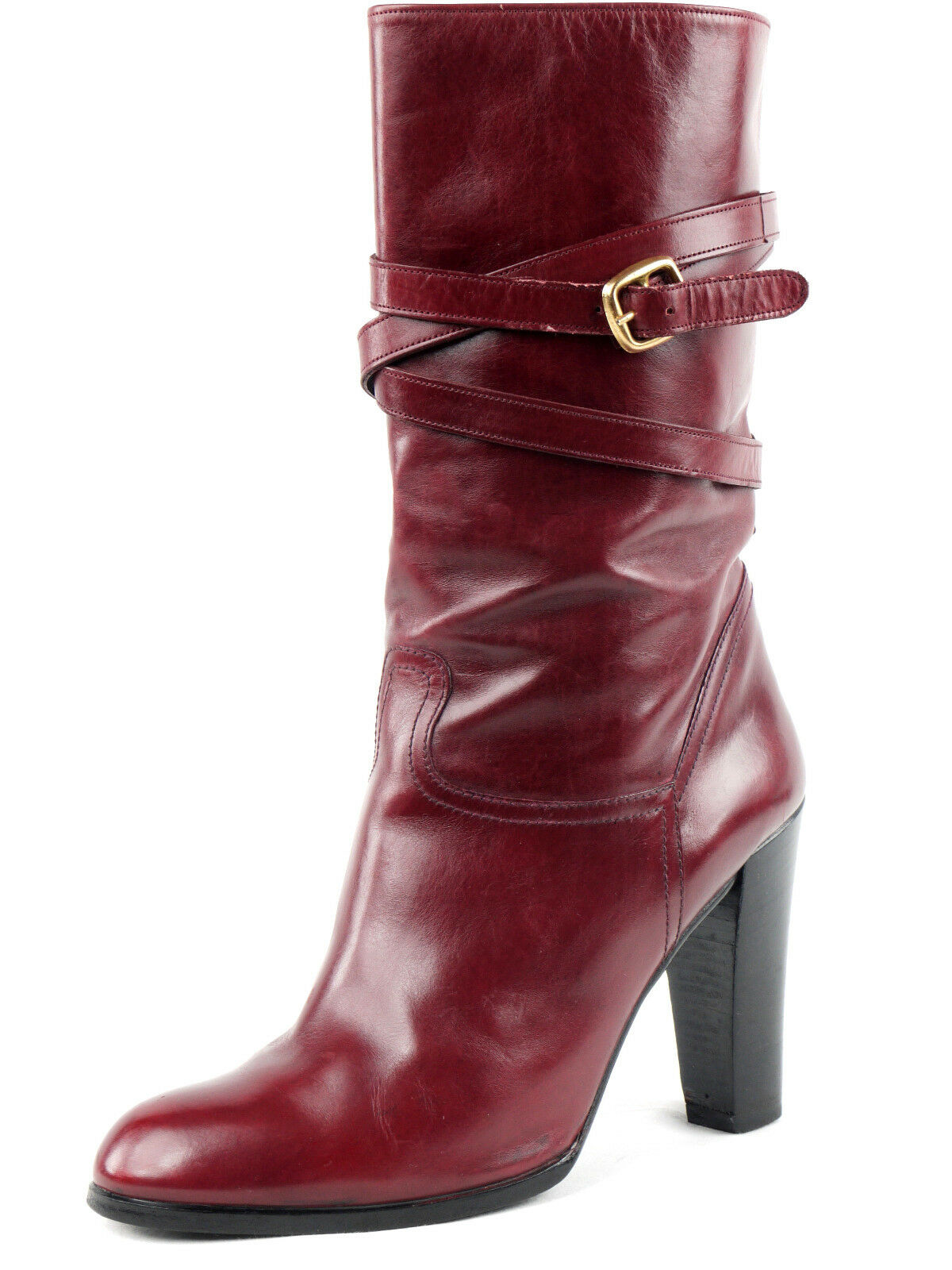 CHRISTIAN DIOR Deep Red Half Calf Leather Boots 6.5 B FRANCE