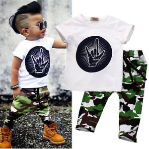30377797cfc1 Details about Kids Short Sleeve Baby Boy Summer Clothes Casual Tops T-shirt+ Pants 2pcs Outfits