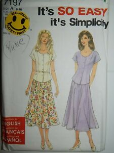 Top-Skirt-Set-Sewing-Pattern-Size-6-16-Simplicity-7197-Uncut-FF-Fit-Flare-sewing