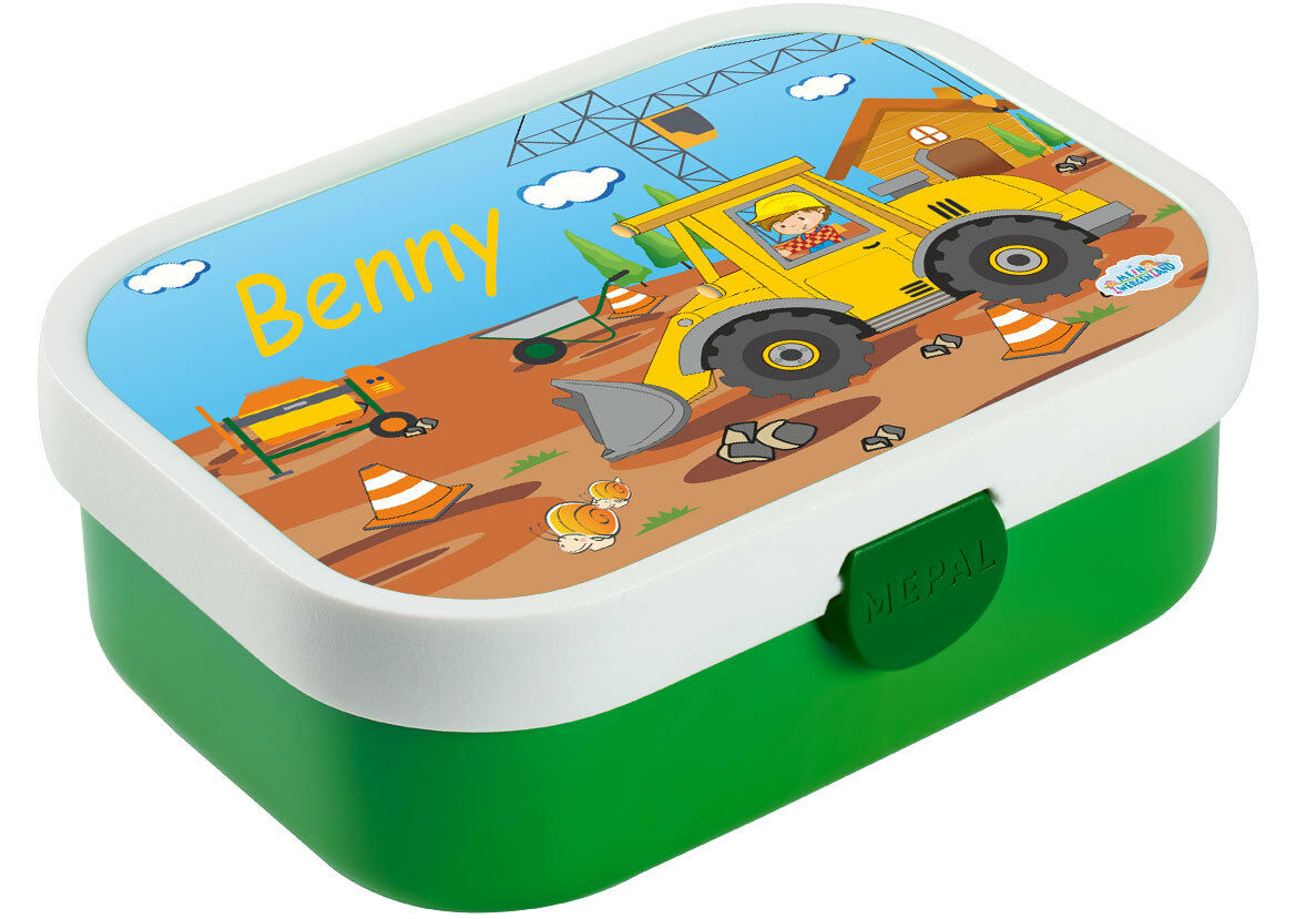 Lunch Box Mepal Campus with Bento Box and Fork and Own Name Lime Green