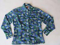 Shirt Blouse Skyr Plaid Patchwork Long Sleeve Button Ladies L Nylon Floral Vtg
