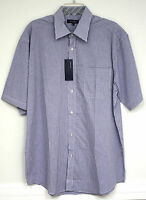 Bogari Dress Shirt Navy Blue White Mini Check Plaid Short Sleeve Button Down