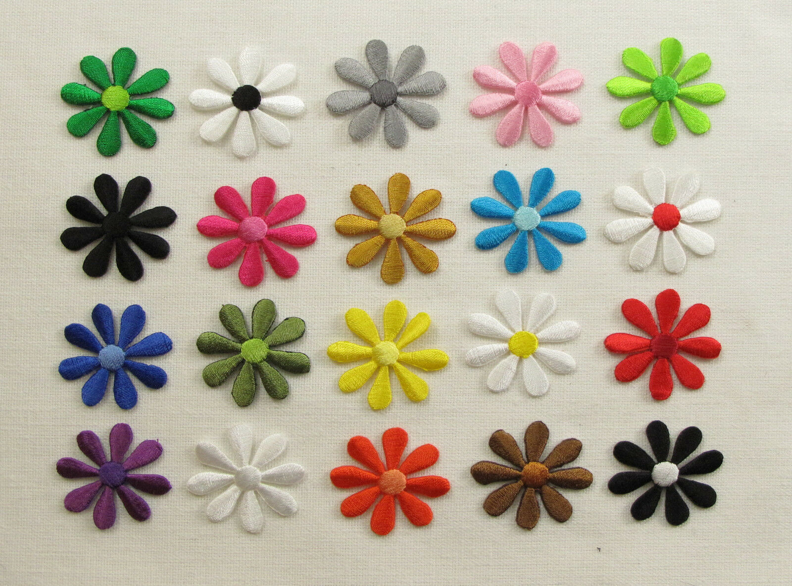 Small daisy flower embroidered iron on sew patches ebay