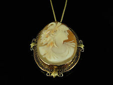 GORGEOUS ANTIQUE VICTORIAN GOLD SHELL CAMEO BROOCH  PENDANT