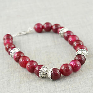Symbole De La Marque Genuine 160.50 Cts Earth Mined Red Ruby Round Shape Beads Hand Made Bracelet ProcéDéS De Teinture Minutieux