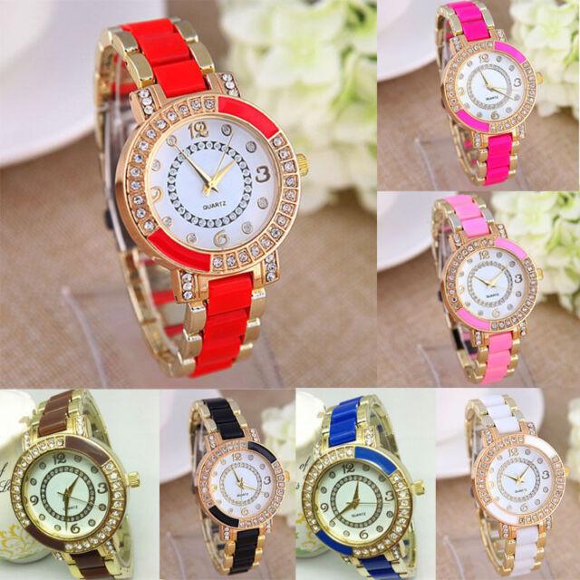 FL 1PCs New Fashion Golden Diamante Quartz DIY Bracelet Watch For Women