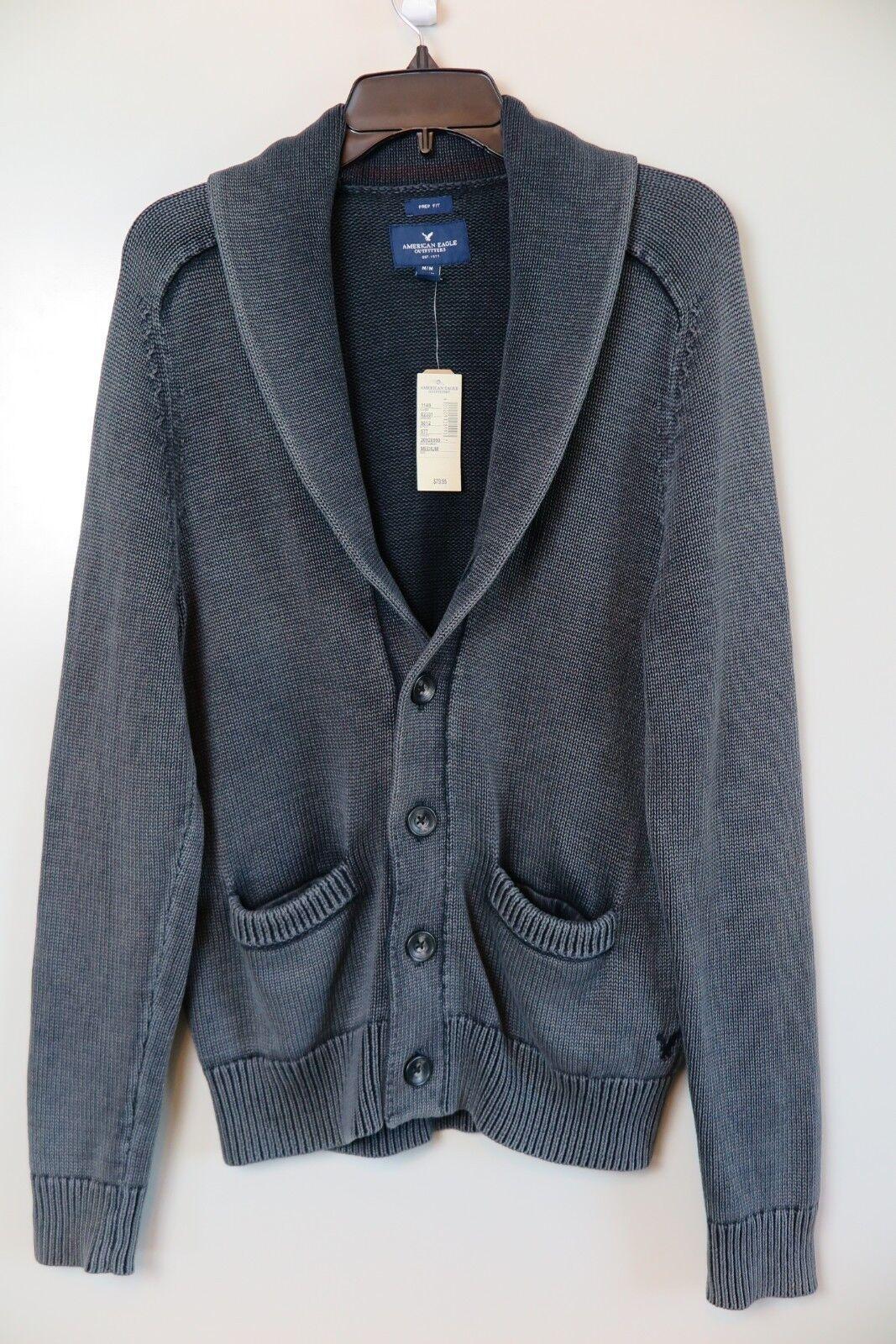NWT American Eagle Washed grau Classic Prep-Fit Cardigan Sweater Größe M