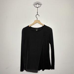 Club Monaco Women's Size XS Black Silk Viscose Asymmetrical Split Top