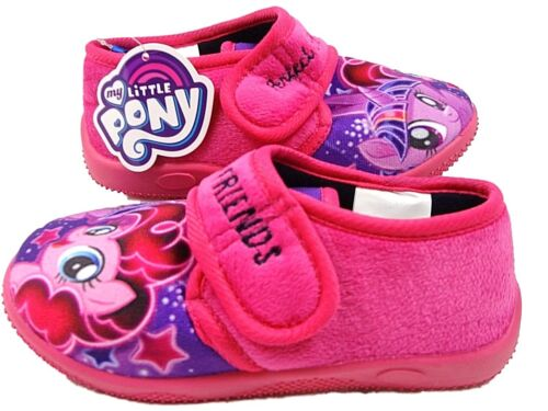 Girls My Little Pony Cerise Pink  Full House Slipper hook and loop fastening