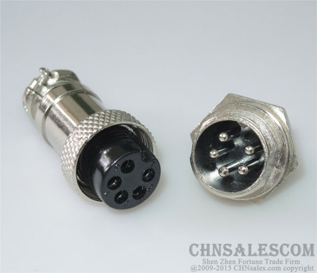 5 Pin Metal Male Female Panel Connector 16mm GX16-5 Aviation Connector Plug of 5 Pairs