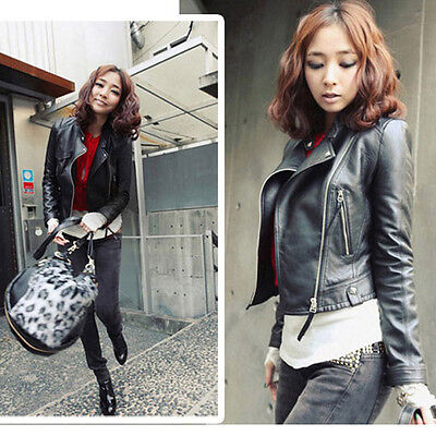 Fashion Vintage Women Slim Biker Motorcycle Faux Leather Zipper Jacket Coat