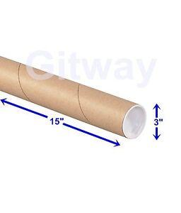 3 x 12 Aviditi P3012K Mailing Tubes with Caps Kraft Pack of 24