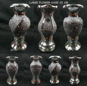 Flower Vase Flower Pot Basket Crushed Diamond Mirror Effect Xmas Christmas Gift