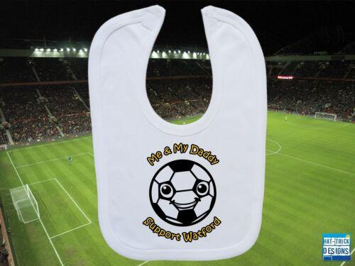 WATFORD Football Baby//Toddler Bib Personalised Gift Boy//Girl White//Blue//Pink