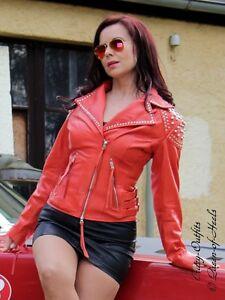Lederjacke-Leder-Jacke-Orange-Biker-Style-Nieten-Groesse-32-58-XS-XXXL