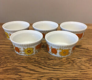 Vintage-Retro-Pillivuyt-French-Ramekins-X5-Made-In-France-Floral-Porcelain