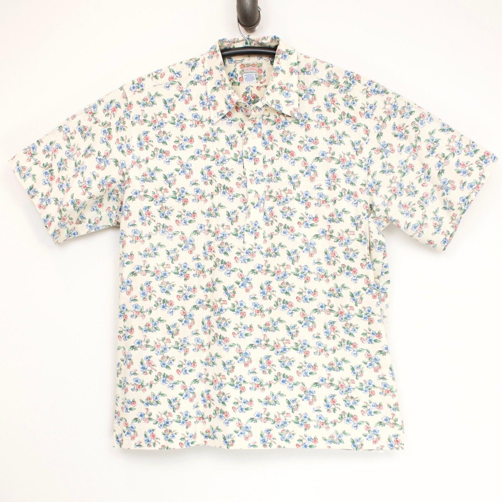 Reyn Spooner Mens Popeover Shirt XL Reverse Print Floral Cotton Blend Beige Pink