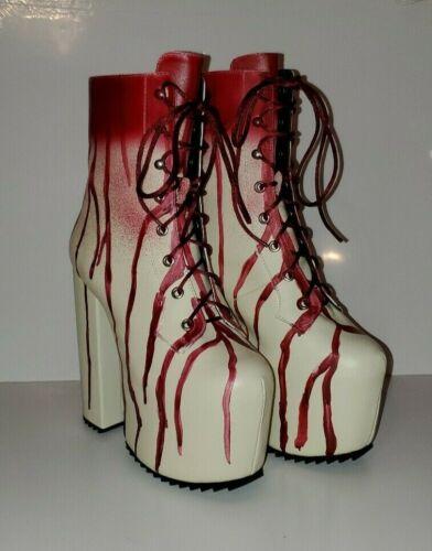 Dolls Kill Scream Queen Platform Boots White, Red,
