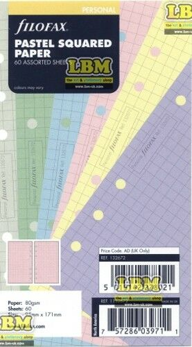 Filofax Personal size Pastel Squared Paper Assorted Colours Insert Refill 132672