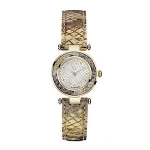 GUESS-Collection-GC-Y11003L1-LADY-CHIC-Damen-Edelstahl-Gold-Leder-Armbanduhr