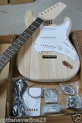BUILD IT YOURSELF STRAT ELECTRIC GUITAR KIT-PARTS HAND CARVED
