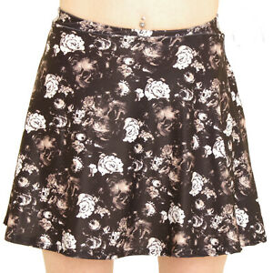 BLACK-WHITE-SKULL-ROSES-GOTH-MINI-MICRO-SKATER-SKIRT-ALTERNATIVE-15in-Long