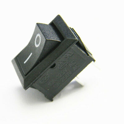 10Stk Black Rocker Switch KCD1-101 250V 6A Boatlike Style Switch 2 Pin