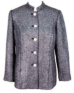 Chicos-Jacket-Sz-0-Metallic-Tweed-Blazer-Rhinestone-Buttons-S-Small-4-6-NWT