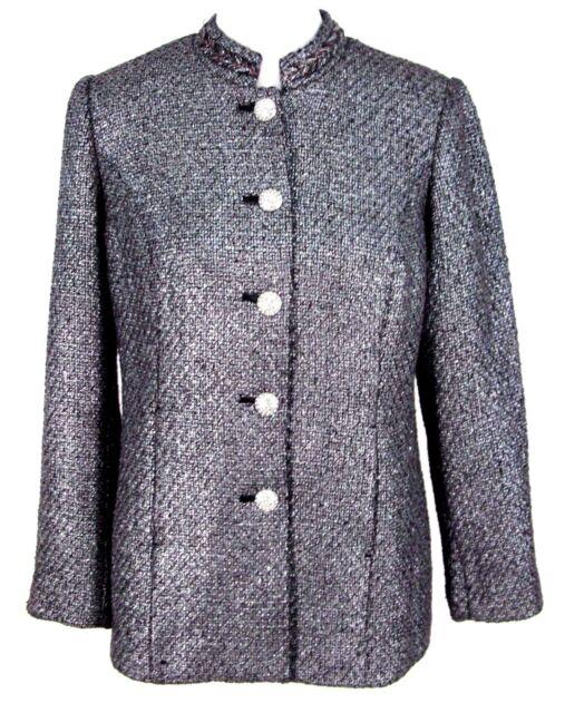 NWT Chicos Jacket Sz 0 Womens Metallic Tweed Blazer Rhinestone Buttons (S 4 / 6)
