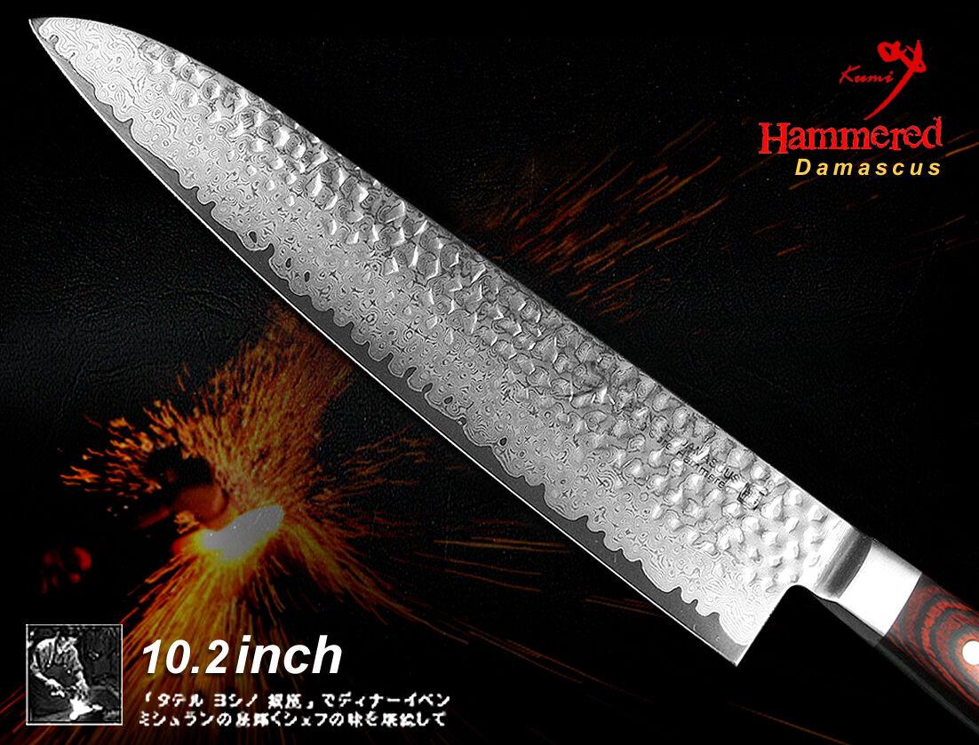 Japanese Damascus hammerouge VG-10 Chef's Knife 10.2  Cutlery Full Tang Handmade