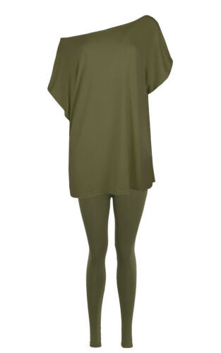 Womens Baggy Oversized Batwing Sleeve Off The Shoulder Lounge Wear T Shirt Top
