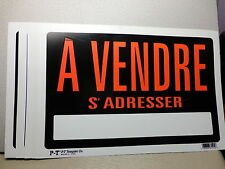 "LOT of 10    8"" x 12"" Plastic Signs  'A VENDRE S' ADRESSER  French  FOR SALE"
