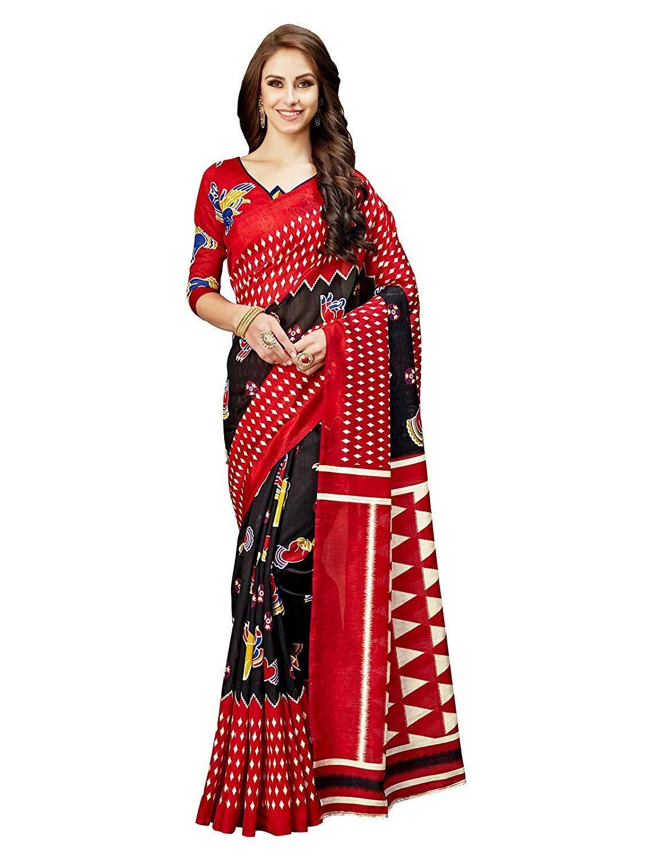Black & Red Printed Bollywood Saree Ethnic Party Wedding Designer Sari