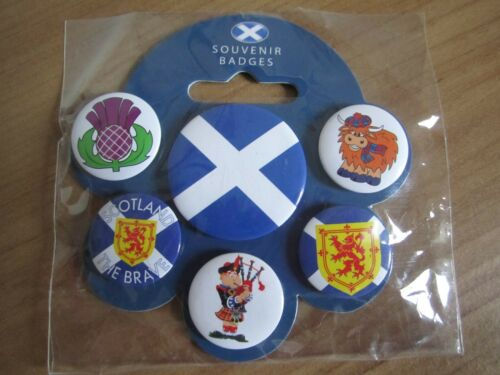 "SCOTTISH BADGES PACK OF 6 /""ICONS/"" BADGES OR /"" I LOVE SCOTLAND /""BADGES BRAND NEW"