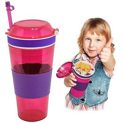Kool Kup 2 In 1 Snack Drink Cup Non Spill Straw Holder Food Grip Kid Travel Mug