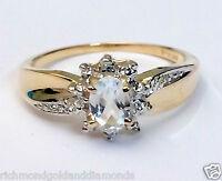 Genuine Birthstone 10k Gold Diamond Aquamarine Engagement Wedding Ring March