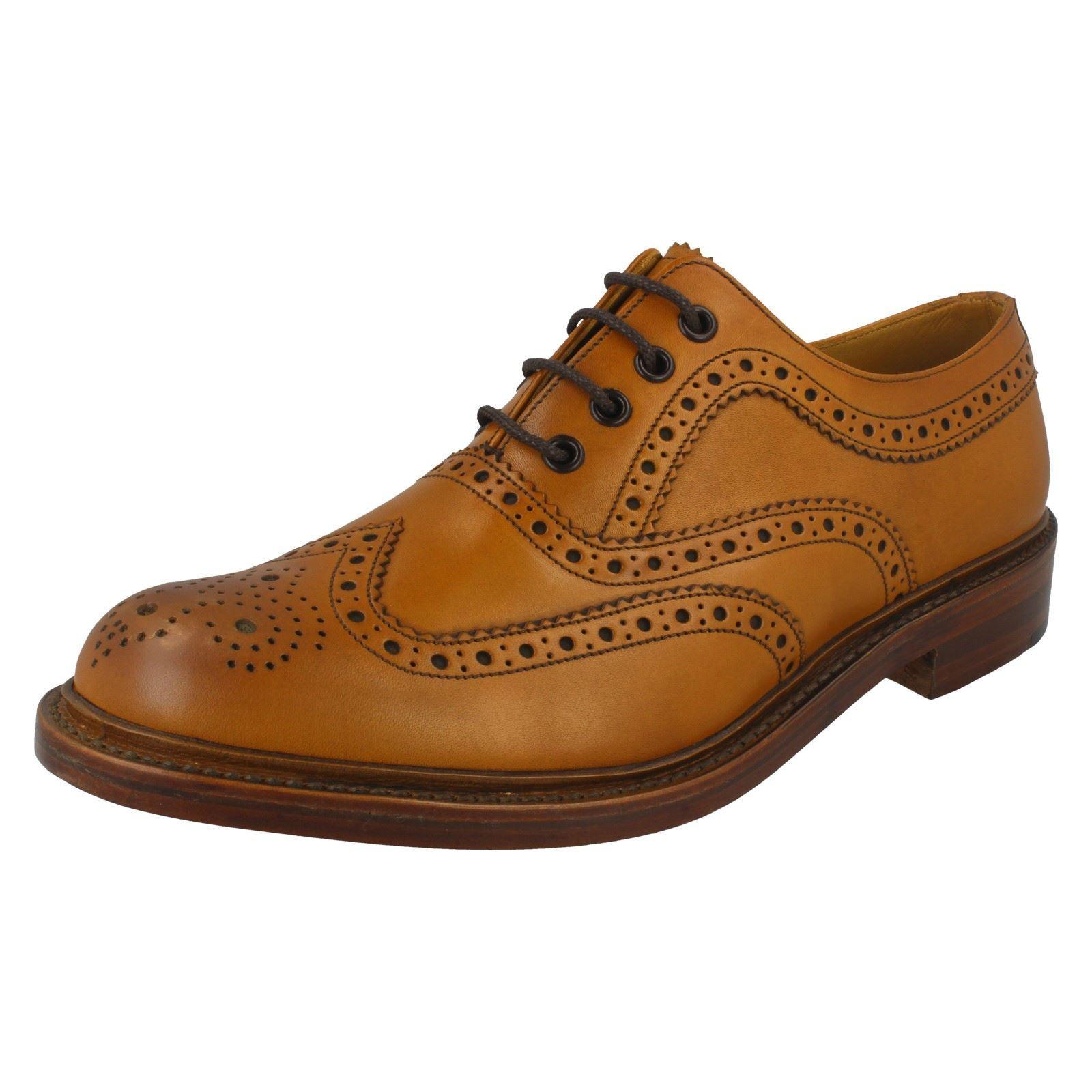 Homme Loake Wing Tip Toe à Lacets en Cuir Lustré Chaussures Ashby