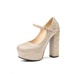 alto Bombas Brillo de imitación cuero diamantes Correa con Hebilla real mujer de Zapatos Tacones tacón de para wC6E6aq