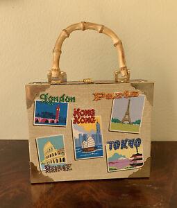 Bueno-Cigar-Box-Purse-Bamboo-Handle-Brass-Corners-World-Cities-Theme-Bling-NEW