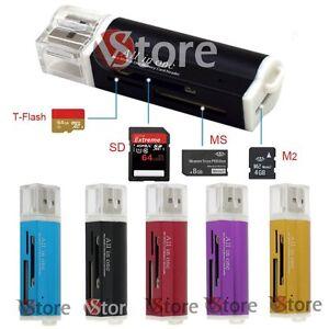 Lettore Multi Schede USB Memoria Memory Card Reader Per Micro SDHC SD TF MS M2