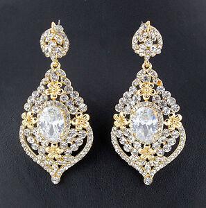 Daisy-Austrian-Rhinestone-Crystal-CZ-Chandelier-Dangle-Earrings-Wed-E3511g-Gold
