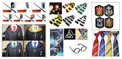 Harry Potter Gryffindor/Slytherin/Hufflepuff/Ravenclaw Cloak Robe/wand/Scarf/Tie