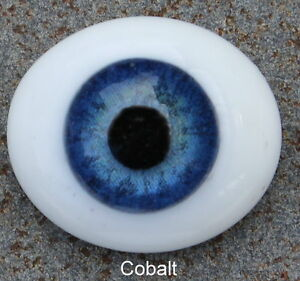 Solid Glass, Flatback Oval Paperweight Eyes - Cobalt Blue, 16mm